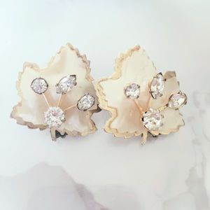 Faux Mother of Pearl Leaf Clip ONs